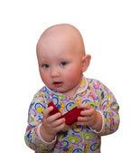 Bir çocuk bir hediye ile — Stok fotoğraf