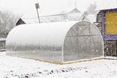 Greenhouse and snow — Stock Photo