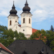 Baroque Spires on Church in Tihany, Hungary — Stock Photo #18825319