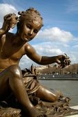 Bronze Art Nouveau Nymph Statue in Paris — Stock Photo