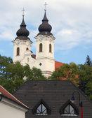 Baroque Spires on Church in Tihany, Hungary — Stock Photo