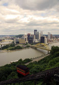 Downtown Pittsburgh  with river view — Stock Photo