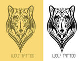 Wolf tattoo — Stock Vector