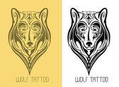 Wolf tattoo — Stock Vector