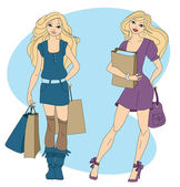 Two women shopping — Stock Vector