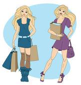 Two women shopping — Stock Vector