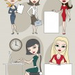 Set of business ladies — Stock Vector