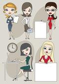 Set of business ladies — Stock Vector