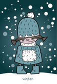 Little girl in winter — Stock Vector