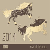 Two horses, new year 2014 sign — Stock Vector