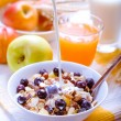 Healthy breakfast muesli with blueberries — Stock Photo