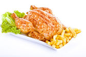Crisp golden roast chicken — Stock Photo