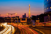 Illuminated radio tower in Berlin — Stock Photo