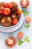 Three varieties of tomato in a dish — Stock Photo