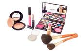 štětec make-up a kosmetiku — Stock fotografie