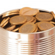 Canned euro coins — Stock Photo