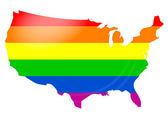 Gay flag USA map — Stock Vector