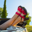 Woman in cabriolet — Stock Photo