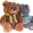 Two toy teddy bears together. Over white — Stock Photo #21409059