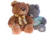 Two toy teddy bears together. Over white — Stock Photo