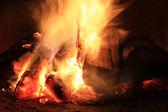 Jasny ogień w kominku. spalanie drewna sfotografowane w pobliżu. — Zdjęcie stockowe