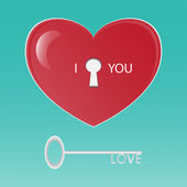 Heart and key — Stock Vector