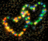 Two sparkling hearts bokeh — Stock Photo