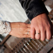 Stock Photo: Close-up Holding Hands with Wedding Ring
