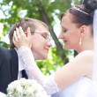 Portrait of wedding couple hugging and kissing - Stock Photo