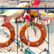 Stock Photo: Two lifelines on boat. Background