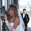 The beautiful bride smiling outdoors — Stok fotoğraf