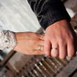 Close-up Holding Hands with Wedding Ring — Stock Photo
