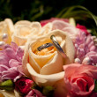 Royalty-Free Stock Photo: Wedding rings in a wedding bouquet