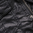 Black leather jacket details — Stock Photo