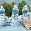 Smiling snowman toy — Stock Photo #24060731