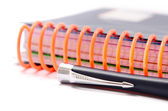 Notebooks with orange spring — Stock Photo