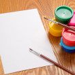 Blank sheet of paper and drawing accessories — Stock Photo #30062527