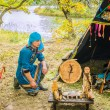 The hunter and fisherman Udege makes a ritual prayer... — ストック写真