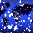 3d globe snow fall against world map — Stock Video