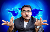 Indian asian businessman with what the hell gesture — Stock Photo