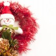 Foto Stock: Little snowmwith jingle bell.