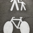 Pedestrians and bike — Stock Photo