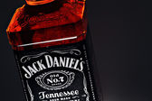 Jack Daniel's whiskey bottle detail — Stock Photo