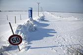 Snow-blocked road — Stock Photo
