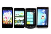 Four smartphones — Stock Photo
