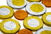 Euro chocolate coins — Stock Photo
