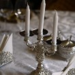 Silver candlestick - Stock Photo