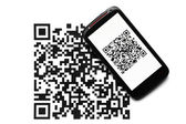 QR code mobile scanner — Stock Photo