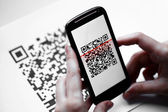 QR code mobile scanner — Stock Photo