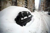 Snow-covered car — Stock Photo
